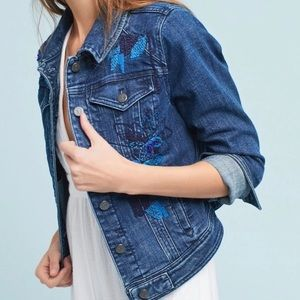 Anthropologie Floral Embroidered Jeans Jacket